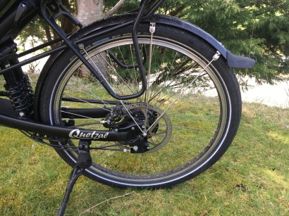 Rear wheel with rack. kickstand and large size disc rotor